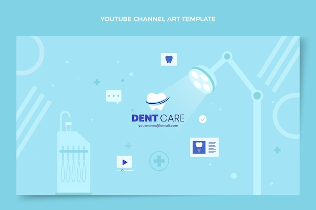 Arte de canal de youtube médico plano