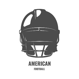Arte del casco de fútbol americano. logotipo monocromo con casco de rugby
