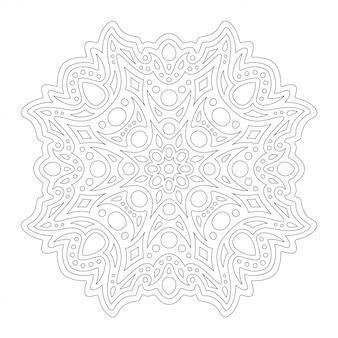 Arte para colorear página con diseño lineal de mandala