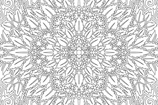Arte para colorear página con estampado de flores
