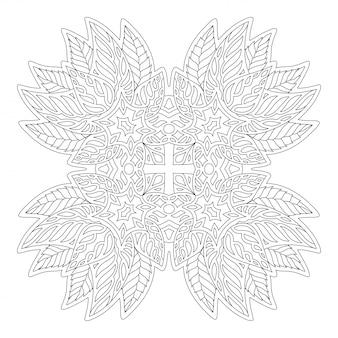 Arte para colorear página con patrón floral
