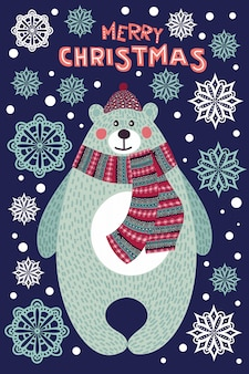 Arte colorida ilustración de navidad con oso de dibujos animados lindo y copos de nieve.