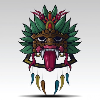 Arte del concepto de tatuaje de máscara de chamán.