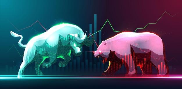 Arte conceptual de alcistas y bajistas en el mercado de valores o en el mercado de divisas