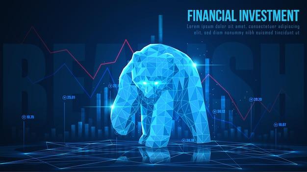 Arte conceptual de bearish en una idea futurista adecuada para la comercialización de valores o la inversión financiera