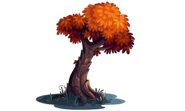 Arte conceptual hermoso del árbol de color naranja