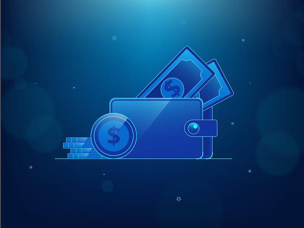 Arte conceptual de tecnología con billetera y dinero