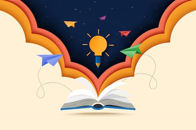 Arte cortado en papel de libro abierto con aprendizaje, educación y exploración.