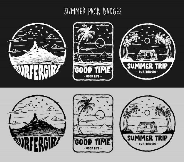 Arte de croquis áspero de las vibraciones de verano, surf y viaje