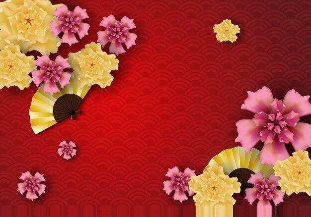 Arte de papel de plantilla de elementos chinos tradicionales y asiáticos