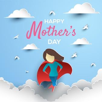 Arte de papel del día de la madre feliz con superhéroe mamá