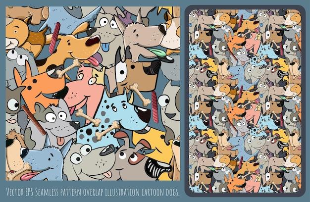 Arte dibujado a mano de la ilustración alineada de patrones sin fisuras del personaje de dibujos animados de perro superpuesto.