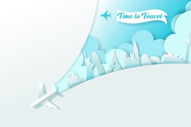 Arte digital de vector de banner de viaje, concepto de tiempo para viajar. vector eps 10.