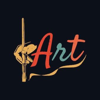 Arte del diseño de la camiseta con la mano que sostiene el cepillo y la ilustración del vintage del fondo negro