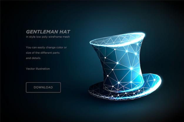 Arte de estructura metálica poligonal de sombrero de caballero aislado en plantilla de fondo azul