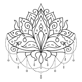 Arte étnico, flor de loto ornamental.