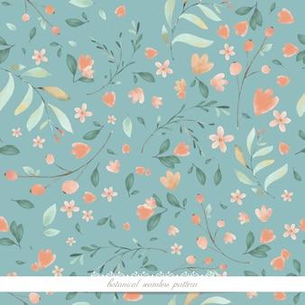 Arte de la flor en imagen de fondo de pantalla de estilo acuarela en un patrón botánico sin costuras