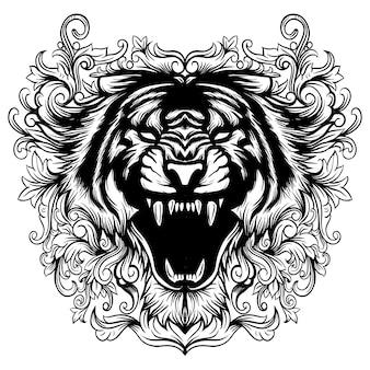 Arte floral cabeza de tigre blanco y negro