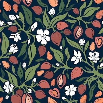 Arte floral moda impresión vintage lindo ejemplo sobre fondo negro