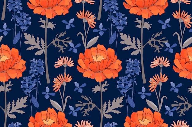 Arte floral de patrones sin fisuras. flores naranjas y azules
