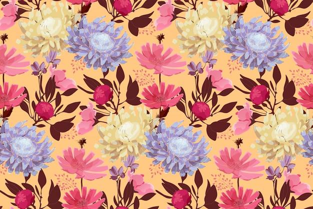 Arte floral de patrones sin fisuras. hojas aisladas sobre fondo amarillo pálido.