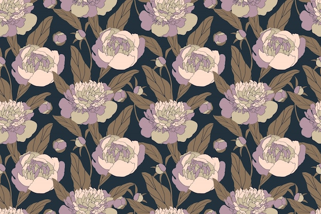 Arte floral de patrones sin fisuras con peonías. flores en colores pastel aisladas sobre fondo azul marino. patrón sin fin para tela, textiles para el hogar y la cocina, papel.