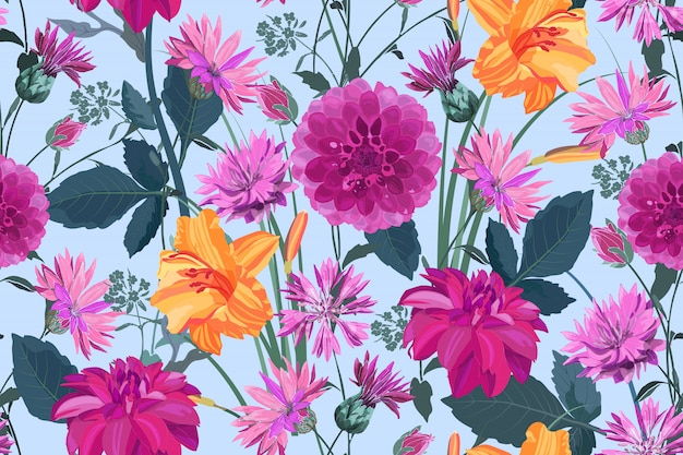 Arte floral de patrones sin fisuras