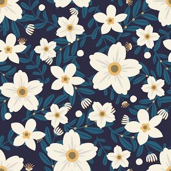 Arte floral para prendas de vestir y telas de moda, guirnalda de flores blancas estilo hiedra con rama y hojas. patrones sin fisuras de fondo.