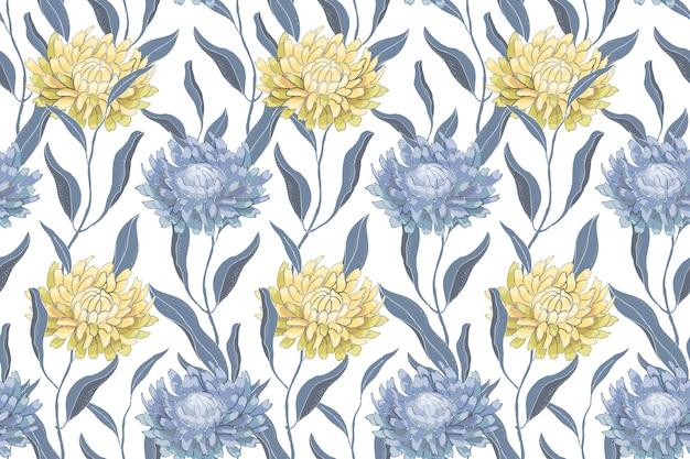 Arte floral vector de patrones sin fisuras con crisantemos. flores y hojas de color azul pálido y amarillo.