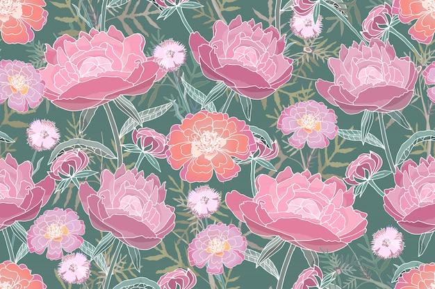 Arte floral vector de patrones sin fisuras. rosa, peonías de color coral, tagetes, acianos, hojas verdes.