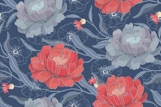 Arte floral vector de patrones sin fisuras