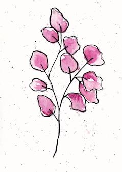 Arte de fondo de acuarela abstracta de hojas violetas