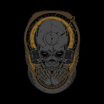 Arte gráfico de la ilustración del cráneo del disc jockey