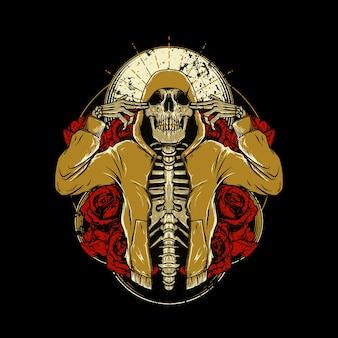 Arte gráfico de la ilustración del cráneo de hip hop rosa