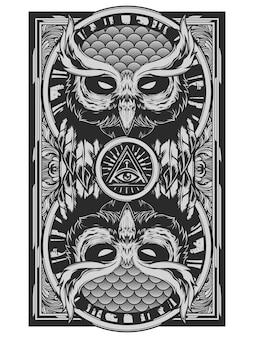 Arte de illuminati de cara de búho