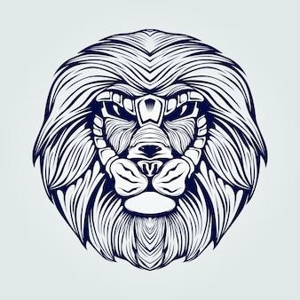Arte de línea de cabeza de león