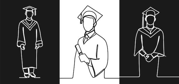 Arte de línea continua en línea de graduación de hombre vector premium