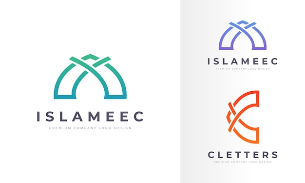 Arte de línea creativa logotipo islámico empresa profesional diseño de negocios