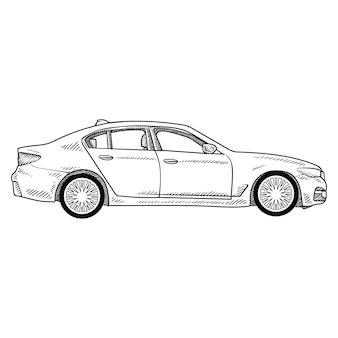 Arte de línea de dibujo de coche