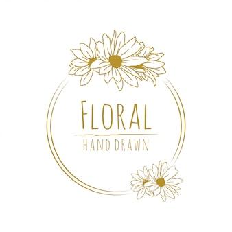 Arte de línea floral flor dorada