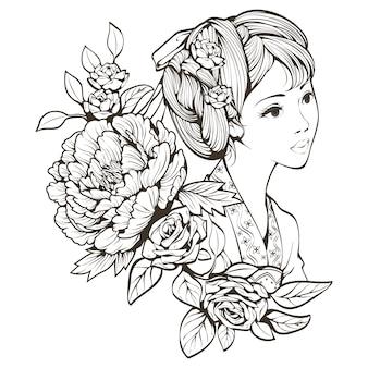Arte de línea de flores y niña china antigua