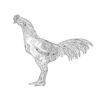 Arte de la línea de gallo con colorante aislado en blanco