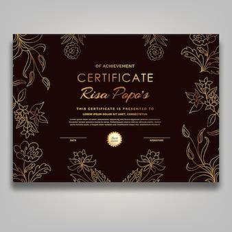 Arte de línea de mediados de siglo contemporáneo certificado de flor dorada de lujo