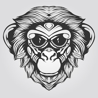 Arte de línea de mono blanco y negro para tatuaje o libro para colorear
