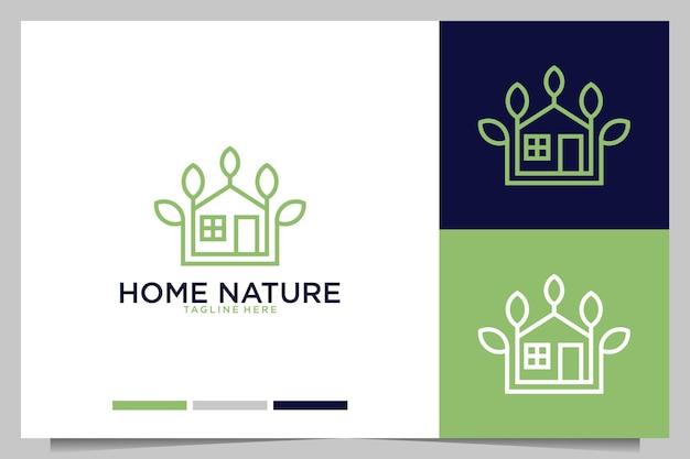 Arte de línea de naturaleza casera con diseño de logotipo de hoja