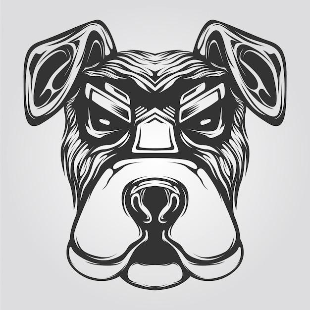 Arte de línea de perro blanco y negro