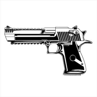 Arte de línea pistolas desert eagle en beground blanco