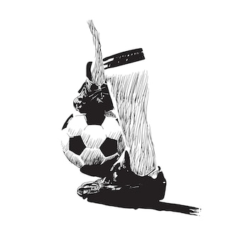 Arte de línea de vector de fútbol