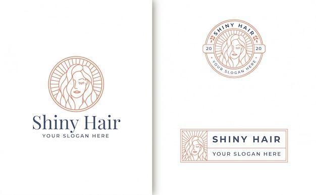 Arte de línea vintage diseño de logotipo de mujer