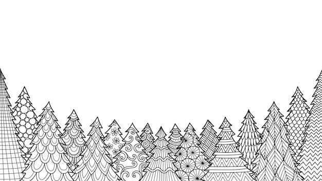 Arte lineal de árbol de navidad aislado sobre fondo blanco para colorear libro, página para colorear o imprimir en animales.